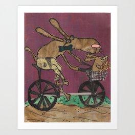 Biking dogs Art Print
