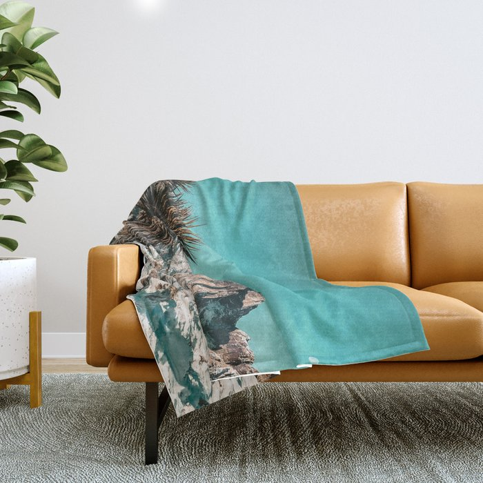 Vintage Lovers Cacti // Red Rock Canyon Mojave Nature Plants and Snow Desert in the Winter Throw Blanket