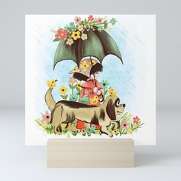 Rain on the green grass, Rain on the tree, Rain on the housetop, But not on me Mini Art Print