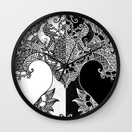 Unity of Halves - Life Tree - Rebirth - White Black Wall Clock