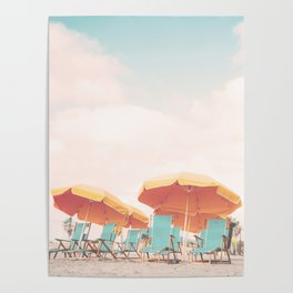 Beach Chairs and Umbrellas Poster