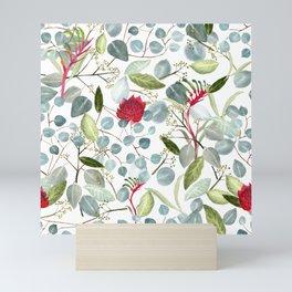 Eucalyptus Kangaroo paw watercolor floral design Mini Art Print