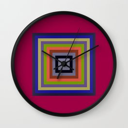 TARGET multi-colour squares wine red, royal blue, lime green, tan Wall Clock