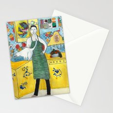 Man with cat in the kitchen Stationery Cards