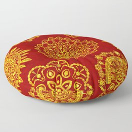Mandala Gold on Warm Textured Red (pattern) Floor Pillow