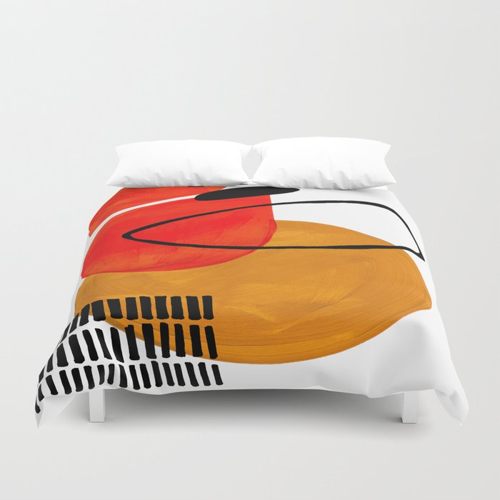 Mid Century Modern Abstract Vintage Pop Art Space Age Pattern Orange Yellow Black Orbit Accent Bettbezug
