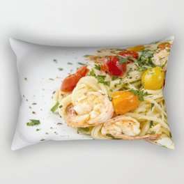Spaghetti pasta with prawns Rectangular Pillow