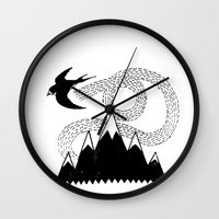 swallow Wall Clocks featuring Mountain Swallow by Satok