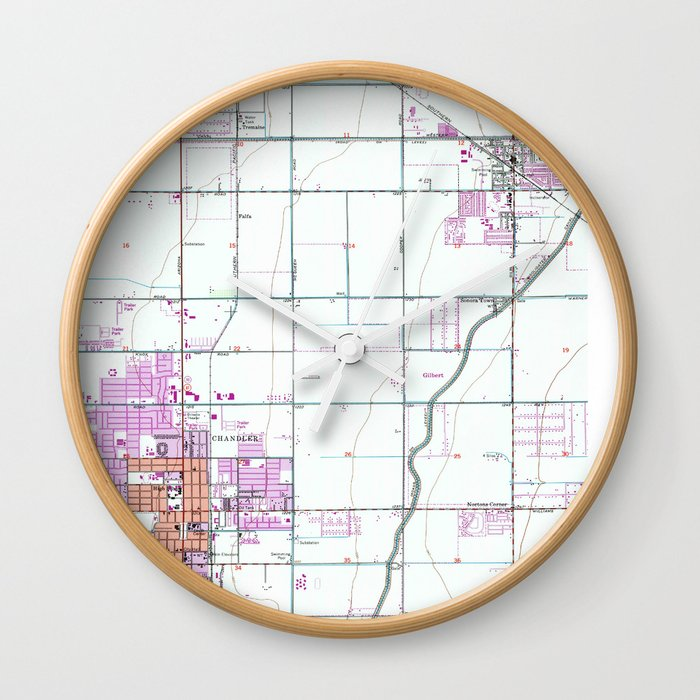 Map Of Arizona Gilbert.Vintage Map Of Chandler Gilbert Arizona 1952 Wall Clock By