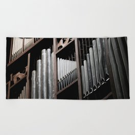 Gray and Brown Steel Organ Musical Instrument Abstract Print Beach Towel