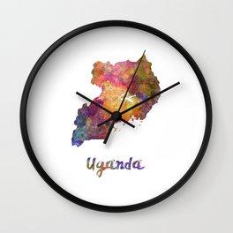 Uganda in watercolor Wall Clock