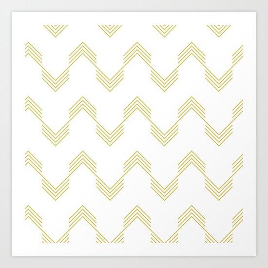 Simply Deconstructed Chevron Mod Yellow on White Art Print