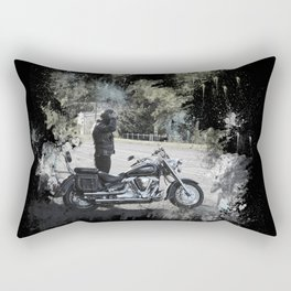 Biker near motorcycle on black Rectangular Pillow