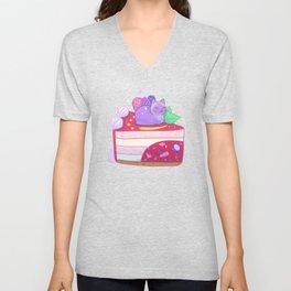 Berry Kitty Cake Unisex V-Neck