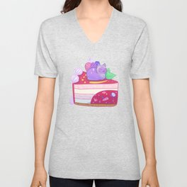 Berry Kitty Cake Unisex V-Neck