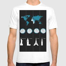 TIME ZONES. NEW YORK, LONDON, PARIS, TOKYO T-shirt