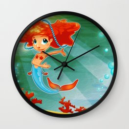 Young mermaid with background.  Wall Clock