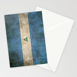 Old and Worn Distressed Vintage Flag of Nicaragua Stationery Cards