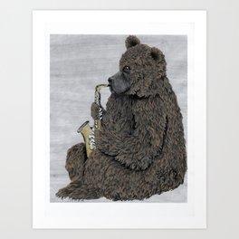 Sax Bear Art Print