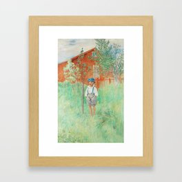 Carl Larsson Little Boy Standing by an Apple Tree Framed Art Print