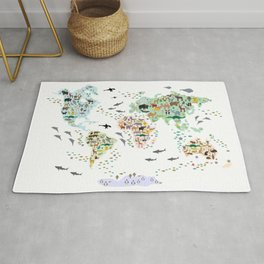 Cartoon animal world map for children, kids, Animals from all over the world, back to school, white Rug