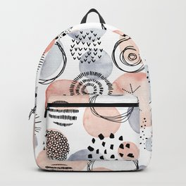Watercolor Circles   Coral and Grey Palette Backpack