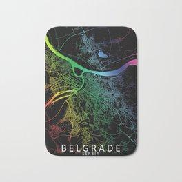 Belgrade, Serbia, City, Map, Rainbow, Map, Art, Print Bath Mat