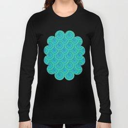 Teal Parasols Pattern Long Sleeve T-shirt