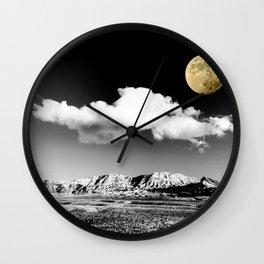 Black Desert Sky & Golden Moon // Red Rock Canyon Las Vegas Mojave Lune Celestial Mountain Range Wall Clock