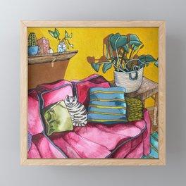 CAT'S LIVINGROOM Framed Mini Art Print