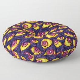 Wall of Eyes in Dark Purple Floor Pillow