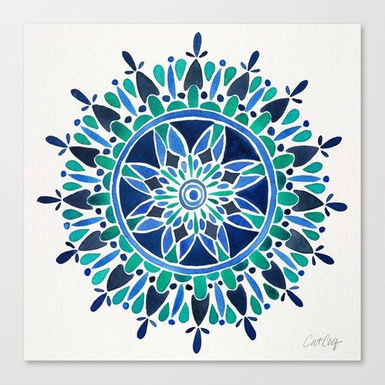 Blue & Turquoise Mandala Canvas Print