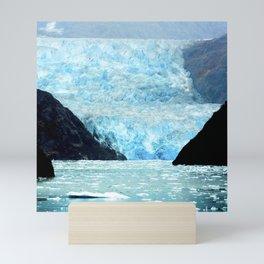 Alaska Majestic Blue Ice Glacier Flowing Into Cove Mini Art Print