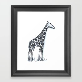 Giraffe (drawing safari animals with my son on a cold afternoon) Framed Art Print