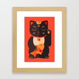 Beckoning Cat Framed Art Print