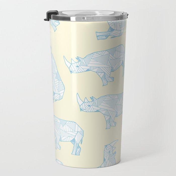 African Animals - Rhino Yellow Travel Mug