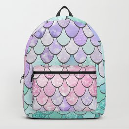 Girls Cute Mermaid Pattern, Pink, Purple, Teal Backpack