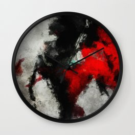 Black and Red Abstract Art Wall Clock