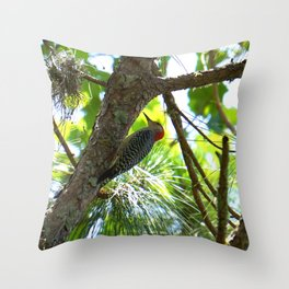 Red-bellied Woodpecker in Southern Pine Throw Pillow