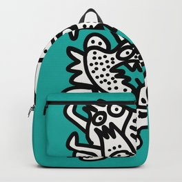 Green Acqua Street Art Black and White Creatures Backpack