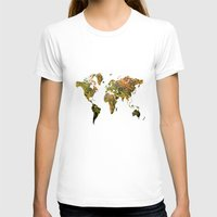 map of the world T-shirts featuring world map by haroulita