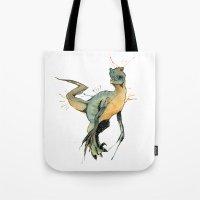 dinosaur Tote Bags featuring Dinosaur by Nicola Girello
