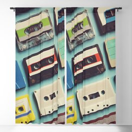 Cassette tape aerial view vintage style collection Blackout Curtain