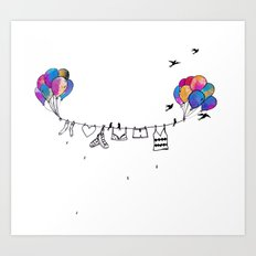 Clothes line Art Print