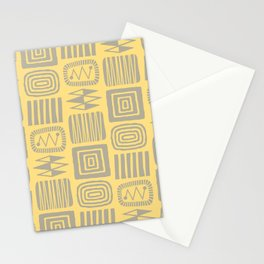 Retro Mid Century Modern Check Pattern 247 Yellow and Gray Stationery Cards