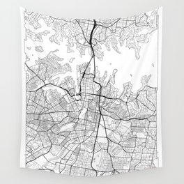Sydney Map White Wall Tapestry