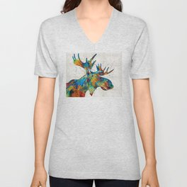 Colorful Moose Art - Confetti - By Sharon Cummings Unisex V-Neck