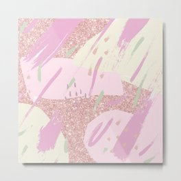 Abstract pink ivory girly glitter brushstrokes Metal Print