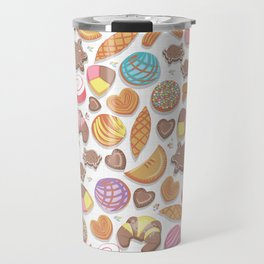 Mexican Sweet Bakery Frenzy // white background // pastel colors pan dulce Travel Mug