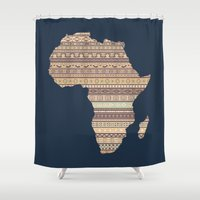 south africa Shower Curtains featuring Africa map by Khamkova Ksenia
